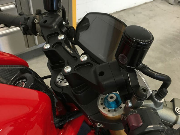 Woodcraft Clip-On Adapter Plate Riser Set w.XL Black Bar '14-'19 Ducati Monster 821