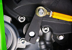 This specially designed change arm kit gives Sato ZX-10R Rear Sets a reverse shift pattern.