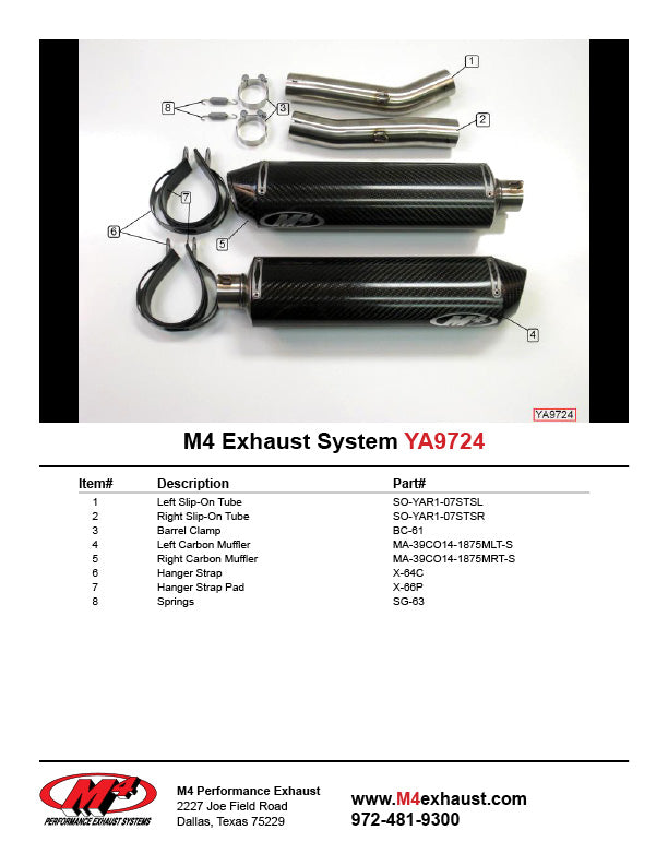 M4 Carbon Standard Mount Slip On Exhaust System 2007-2008 Yamaha YZF R1