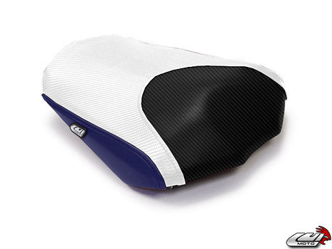 LuiMoto Raven Edition Seat Covers 2006-2013 Yamaha FZ1 - Cf Black/Deep Blue/Cf White