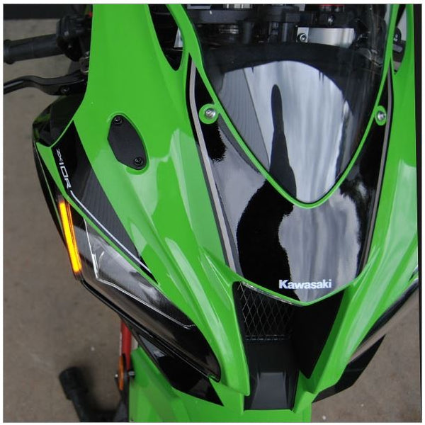 New Rage Cycles LED Front Turn Signals w.Block Off Plates for 2016+ Kawasaki Ninja ZX10R