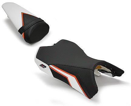 LuiMoto Team Kawasaki Seat Cover 2010-2013 Kawasaki Z1000 - CF Black/Orange/White