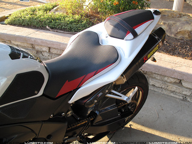 LuiMoto Sport Seat Covers '09-'14 Yamaha YZF R1 - CF Black/Red/CF Pearl - motostarz.com