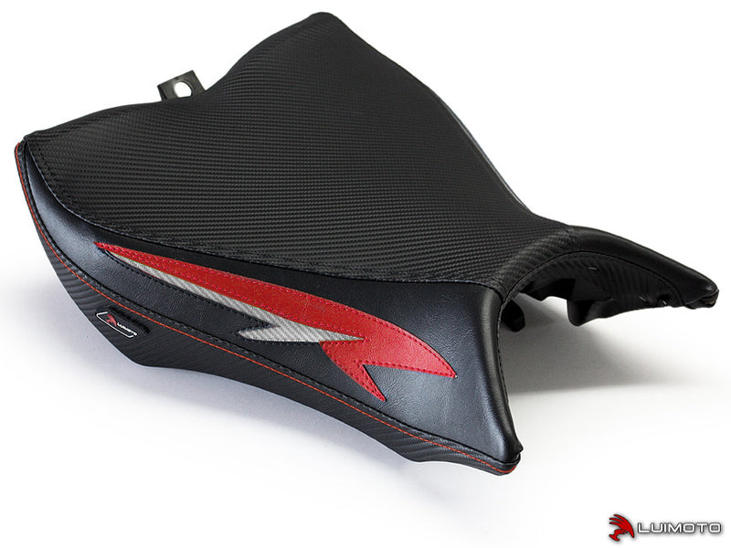 LuiMoto Tribal Flight Seat Covers for 2008-2015 Honda CB1000R - CF Black/Red/CF Silver