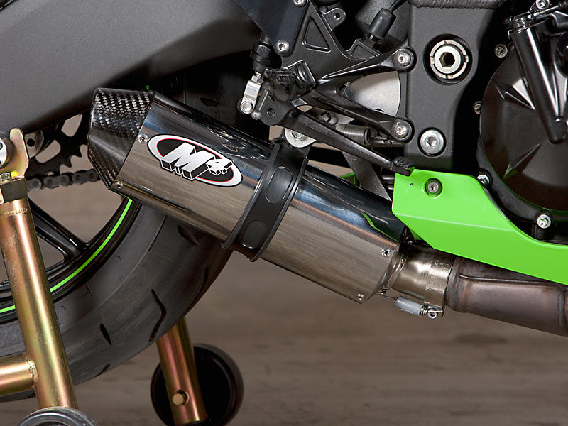 M4 Street Slayer Polished Slip-on Exhaust System 2008-2010 Kawasaki ZX10R