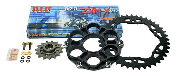 Drive Systems Superlite RS7 525 Pitch Steel Quick Change Sprocket Kit w. D.I.D ZVMX Series X-Ring Sealed Chain for Ducati 1198, Diavel '11-'14