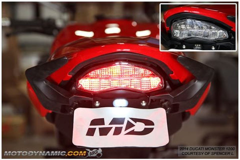Motodynamic Sequential LED Tail Light for '14-'18 Ducati Monster 797/821/1200, '17-'18 Supersport - Clear