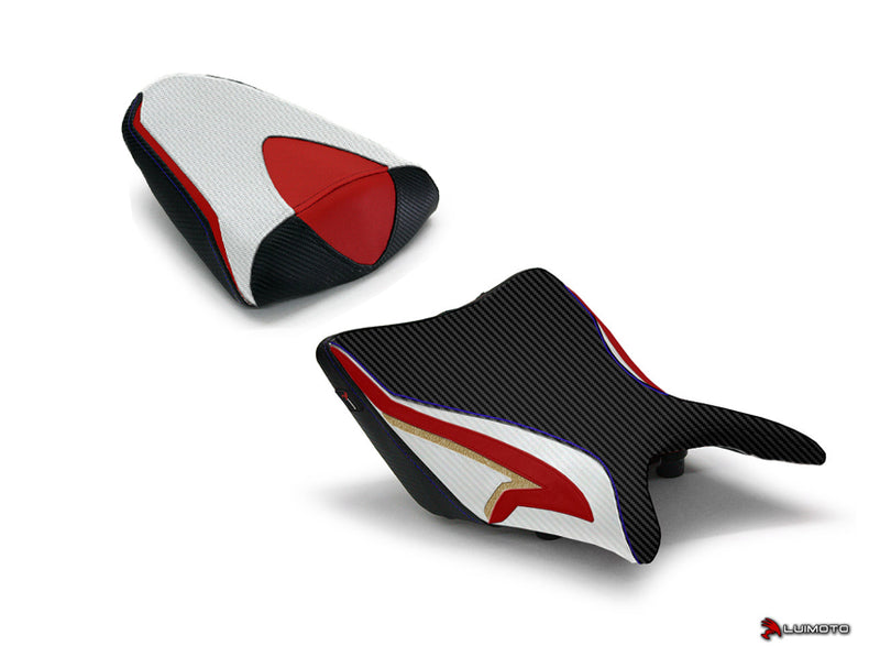 LuiMoto Tribal Blade Seat Cover for 2011-2013 Honda CBR250R - Cf Black/Pearl/Red