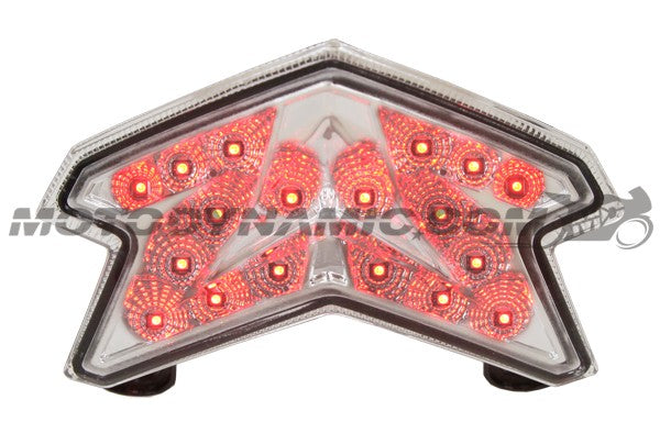 Motodynamic Sequential LED Tail Light For '13-'16 Kawasaki ZX6R 636, '13-'16 Z800 - Clear