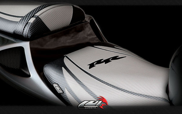 LuiMoto Tribal Flight CF Seat Covers 2004-2007 Honda CBR1000RR - CF Silver/CF Black/Black RR logo