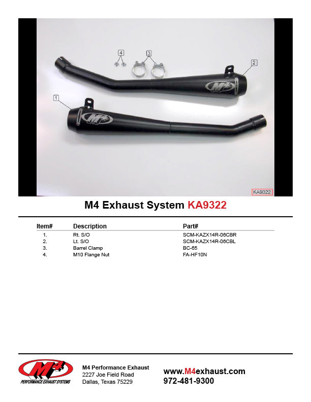M4 Twin Black Retro Drag Slip-on Exhaust System 2006-07 Kawasaki ZX14R