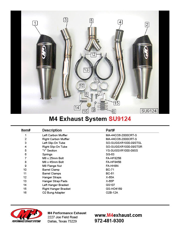 M4 Supersport Carbon Slip On Exhaust System 2009-2011 Suzuki GSXR 1000