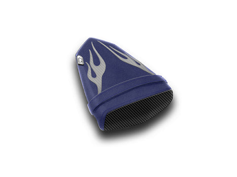 LuiMoto Flame Edition Seat Cover 06-07 Yamaha YZF-R6 - Deep Blue/Cf Silver