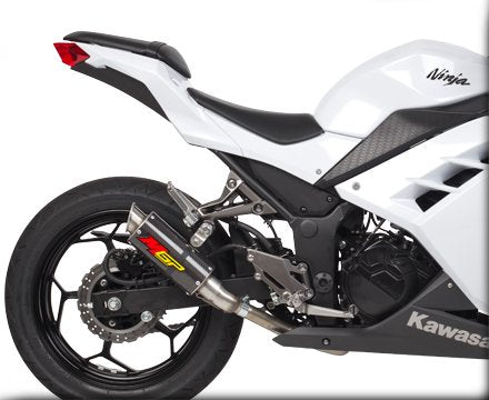 Hotbodies Racing MGP Growler Carbon Slip-on Exhaust System for 2013-2015 Kawasaki Ninja 300