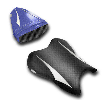 LuiMoto Raven Edition Seat Cover 06-07 Yamaha YZF-R6 - Cf Black/Pearl/Deep Blue