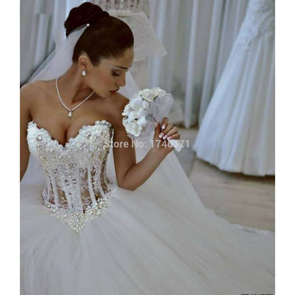 Vestidos De Noiva White Strapless Romantic Wedding Dresses Ball Gown ...