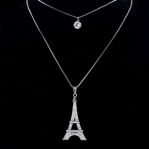 High quality silver plated chain eiffel tower pendant necklace for high quality silver plated chain eiffel tower pendant necklace for women round crystal long necklace aloadofball Image collections