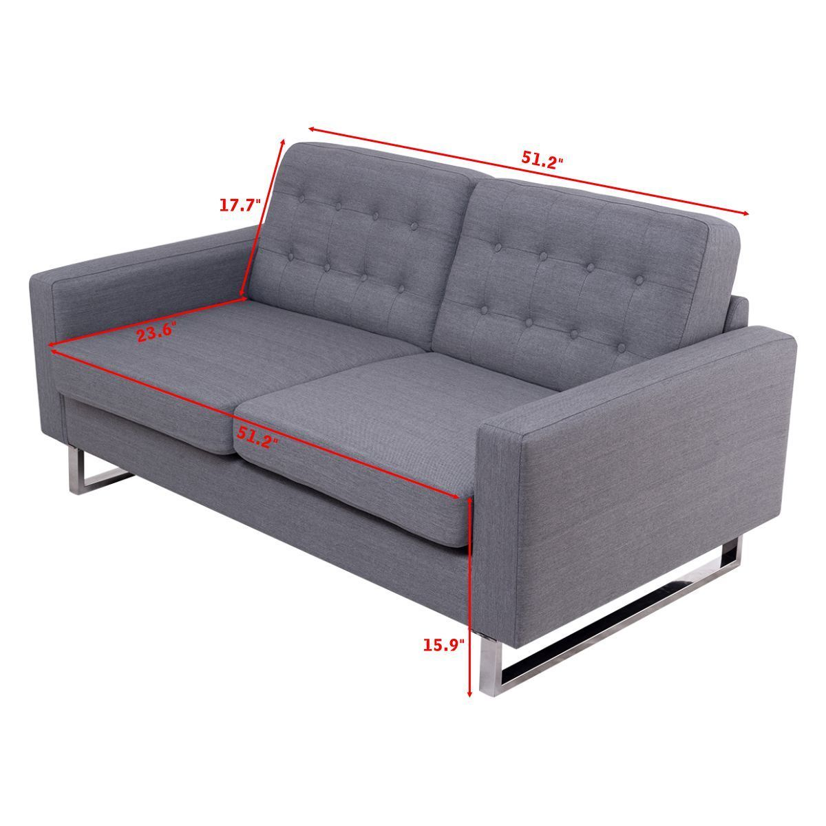 Giantex 2 Seat Sofa Couch Home Office Modern Loveseat Fabric Upholstered  Tufted Luxury Sofas Living Room Furniture