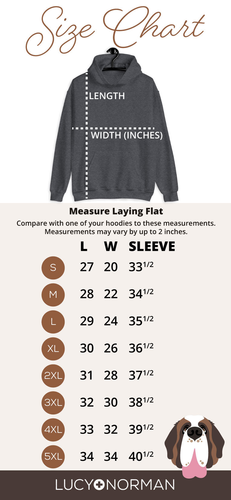 Heavy Hoodie Mens Size Chart - Lucy and Norman