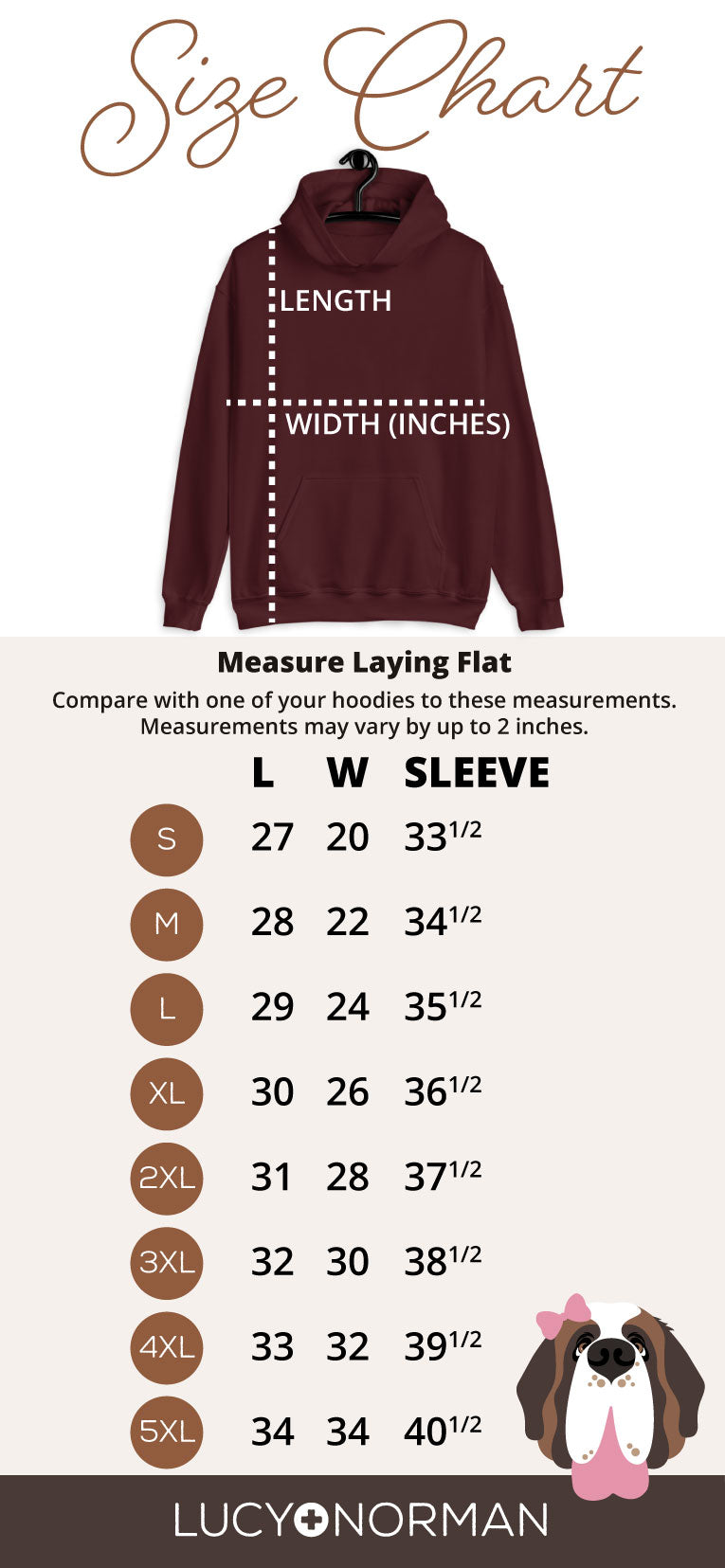 Heavy Hoodie Womens Size Chart - Lucy and Norman