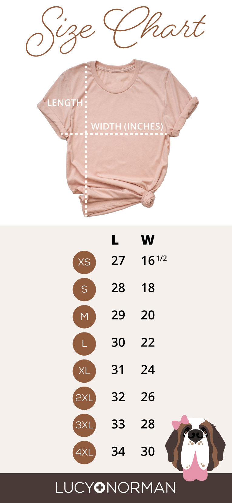 Women's T-Shirt Size Guide - Lucy and Norman