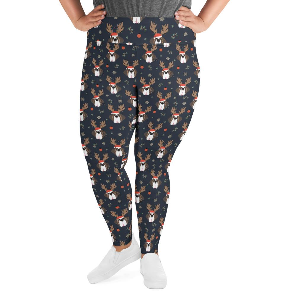 Christmas Reindeer Saints Plus Size Leggings - Lucy + Norman
