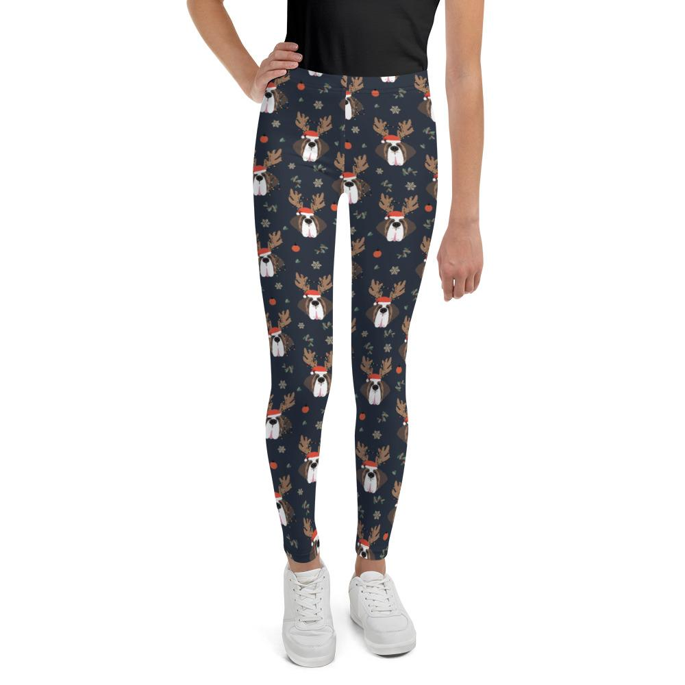 Christmas Reindeer Saints Youth Leggings - Lucy + Norman
