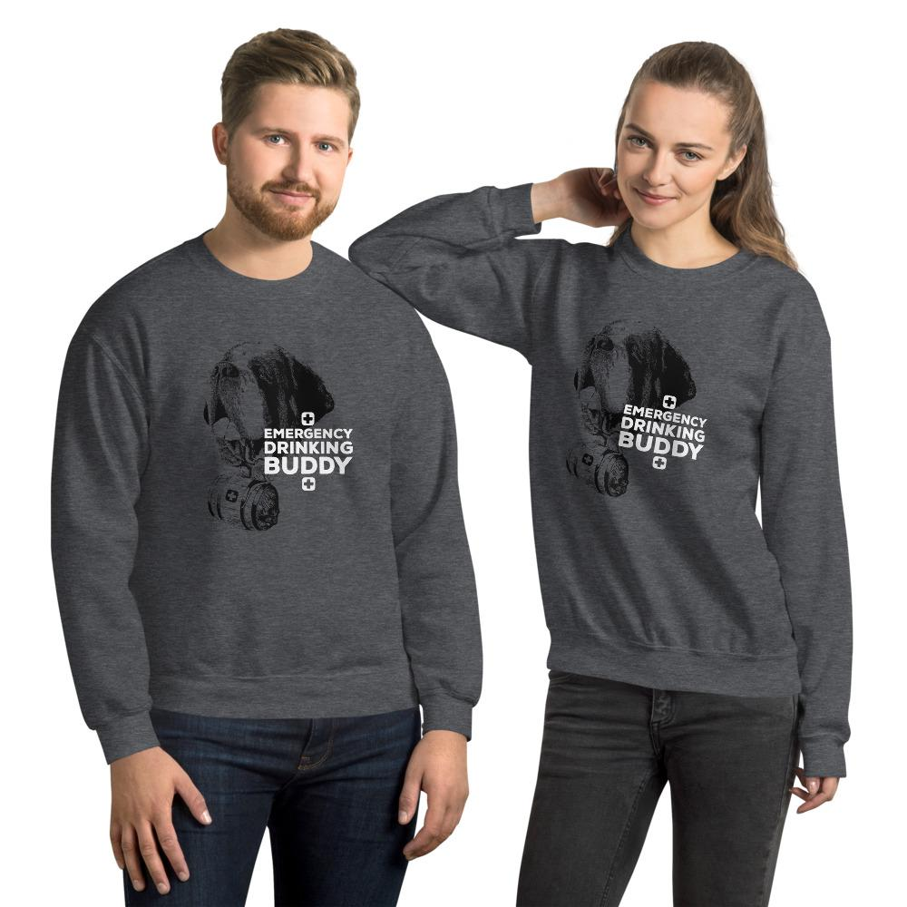 Emergency Drinking Buddy St Bernard Unisex Sweatshirt - Lucy + Norman