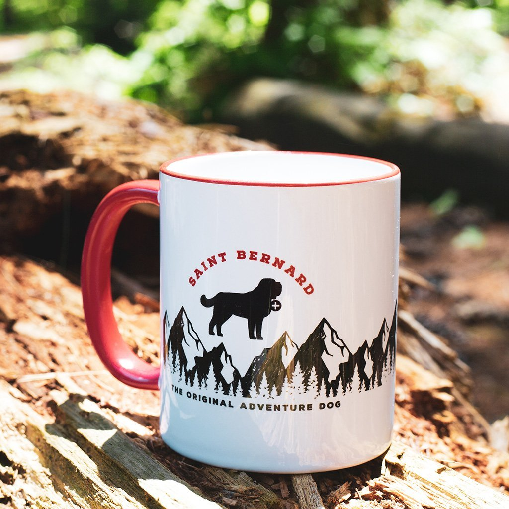 Hike and Be Happy Saint Bernard Red Handled Mug - Lucy + Norman