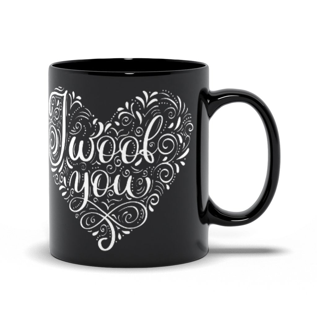 I Woof You Heart Black Mug - Lucy + Norman