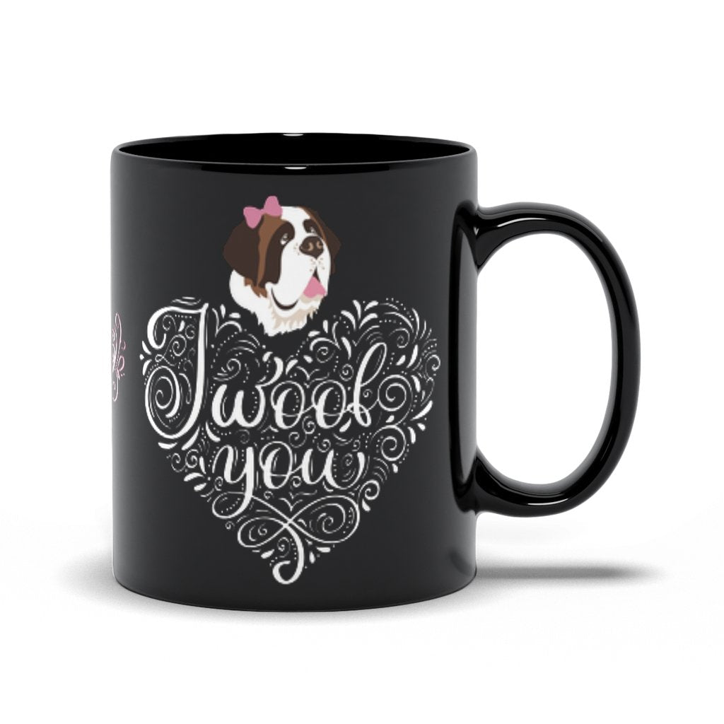 I Woof You St Bernard Lucy Black Mug - Lucy + Norman
