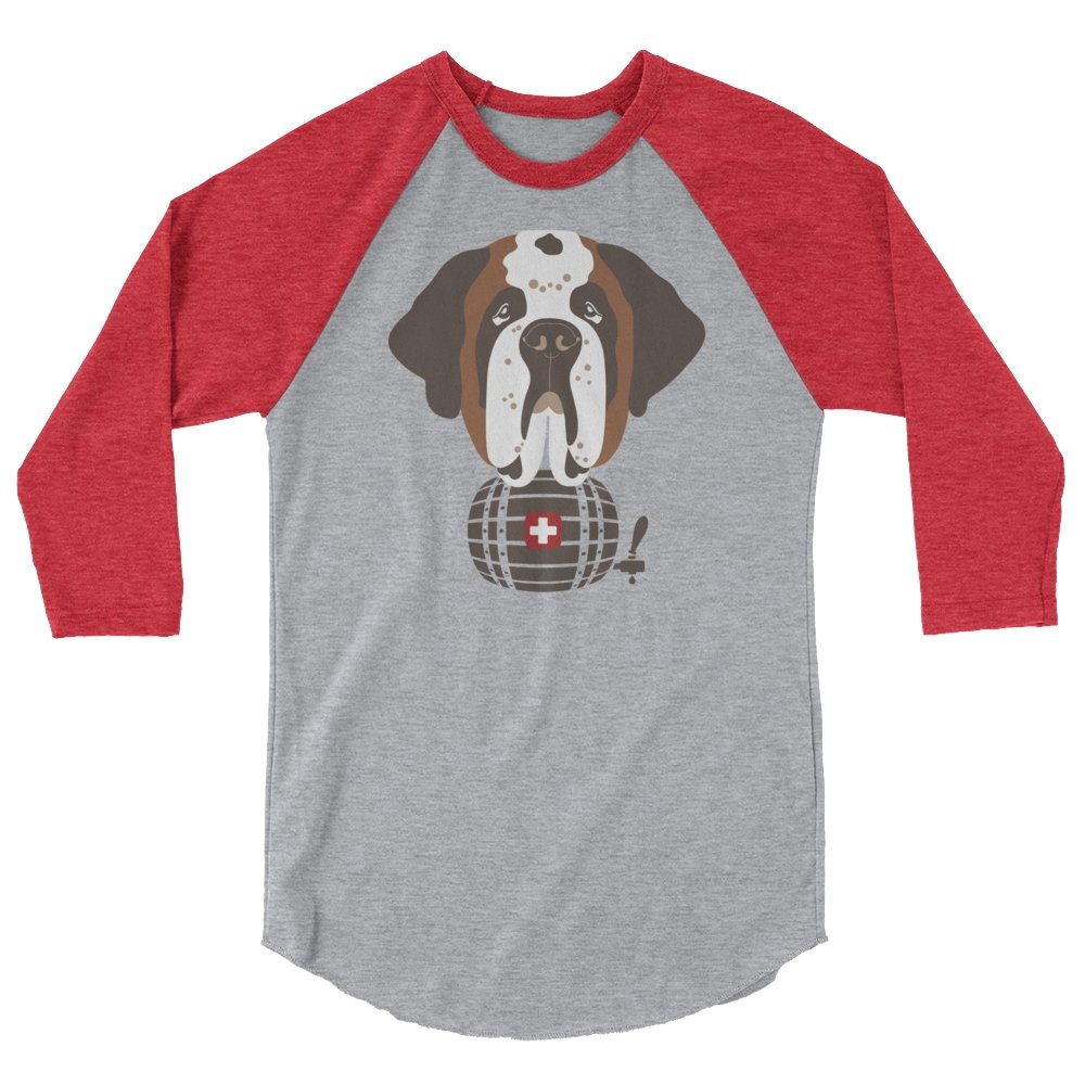 St Bernard Norman Swiss Barrel - 3/4 Sleeve Raglan T-Shirt - Lucy + Norman