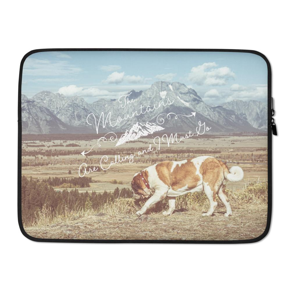 The Mountains Are Calling Vintage St Bernard Laptop Sleeve - Lucy + Norman
