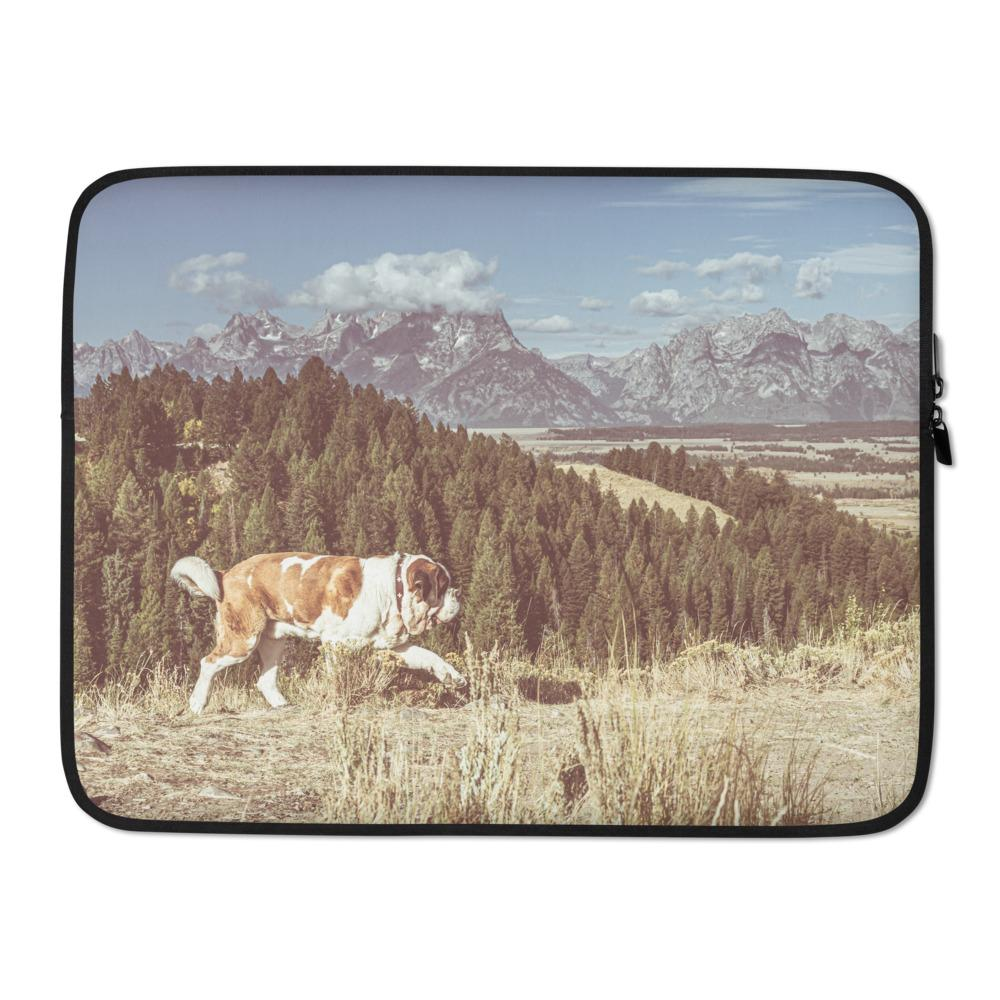 Vintage Mountains St Bernard Laptop Sleeve - Lucy + Norman