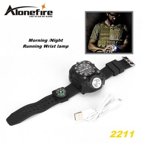 Tactical Compass Rechargeable Q5 LED Watch Flashlight Wristlight Waterproof