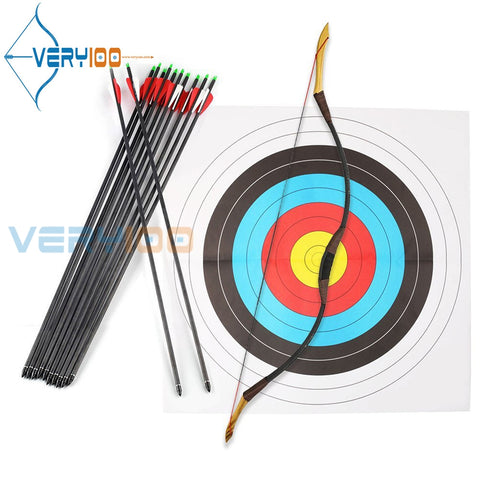 30LB 125cm Recurve Bow Set Handmade Traditional Longbow Archery Complete Set Hunting