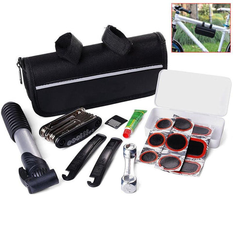 Bicycle 16 in 1 Multi-function Repair Kit - Tool Set With Pump & Pouch