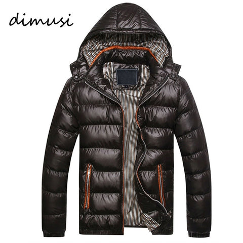DIMUSI Mens Winter Jacket Fashion Hooded Thermal Down Cotton