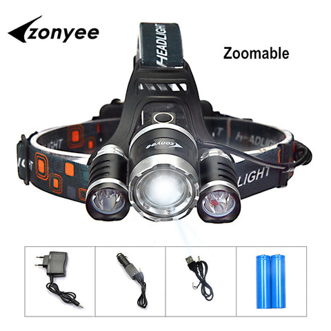 Zonyee Flashlight Headlamp Led 10000 Lumen Headlight XML-T6 LED