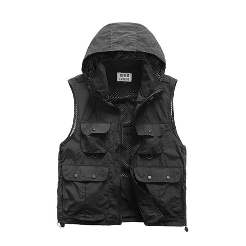 Men Outdoor Casual Hooded Jackets Multi-pocket Vest