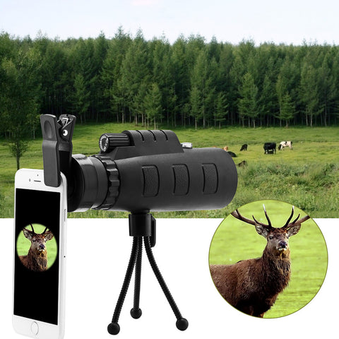 40x60 HD Optical Monocular Phone Lens with Phone Clip and Tripod Tool