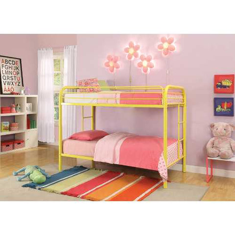 Twin/Twin Bunk Bed, Yellow - Metal Tube Yellow