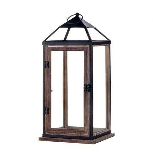Large Wooden Trim Contemporary Lantern