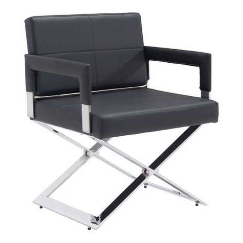 Leatherette Dining Chair Black Leatherette Chromed Steel