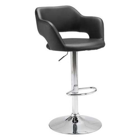 Bar Chair Black Leatherette Chromed Steel