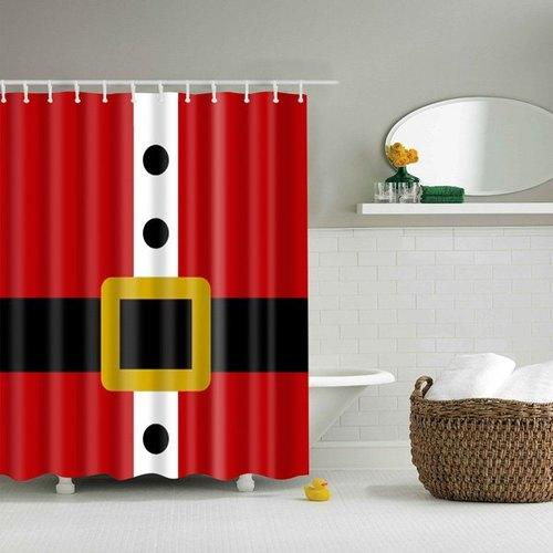 Creative Belt Pattern Waterproof Polyester Bath Shower Curtain - Red S