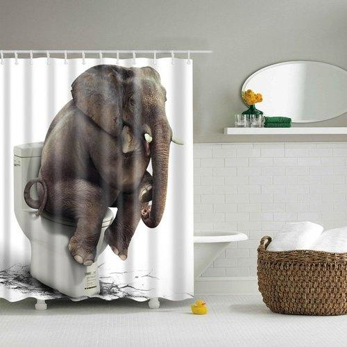 Creative Elephant On Closestool Waterproof Polyester Shower Curtain - L