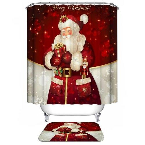 Christmas Santa Claus Waterproof Shower Curtain Barhroom Decor - Red W71 Inch * L71 Inch