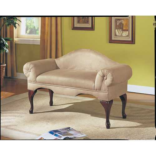 Bench with Rolled Arm, Beige Microfiber - Microfiber, Foam Beige Microfiber