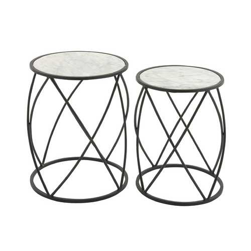Utility Set Of 2 Tables With Marble Top